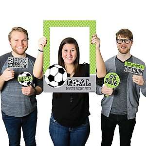 GOAAAL! - Soccer - Personalized Birthday Party or Baby Shower Photo Booth Picture Frame & Props - Printed on Sturdy Plastic Material