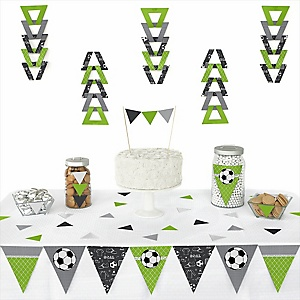 GOAAAL! - Soccer - Baby Shower Triangle Decoration Kits - 72 Count