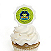 Space Alien - Personalized Birthday Party Cupcake Pick and Sticker Kit - 12 ct