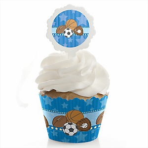 All Star Sports - Cupcake Wrapper & Pick Party Kit - Set of 24