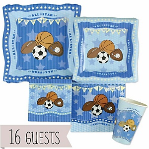 All Star Sports - Baby Shower Tableware Bundle for 16 Guests