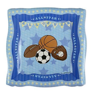 all star sports baby shower dessert plates 8 ct