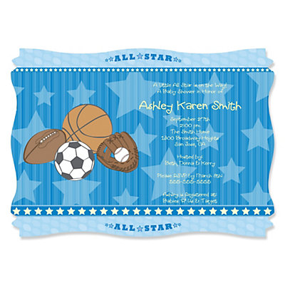 all star sports - baby shower theme | bigdotofhappiness, Baby shower invitations