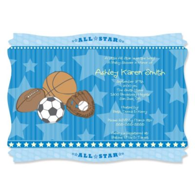 All Star Sports   Personalized Baby Shower Invitations