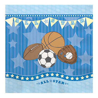all star sports baby shower luncheon napkins 16 ct