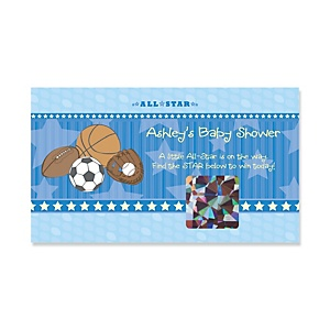 All Star Sports - Personalized Baby Shower Game Scratch Off Cards - 22 ct