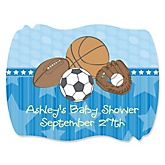 All Star Sports - Personalized Baby Shower Squiggle Sticker Labels - 16 Count
