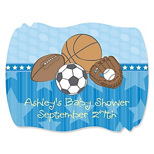 All Star Sports - Personalized Baby Shower Squiggle Stickers - 16 ct
