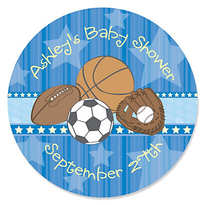 all star sports personalized baby shower sticker labels 24 ct