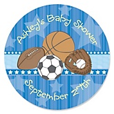 All Star Sports - Personalized Baby Shower Round Sticker Labels - 24 Count