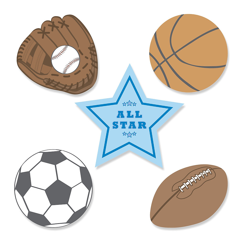 All Star Sports   Shaped Party Paper Cut Outs   24 Ct