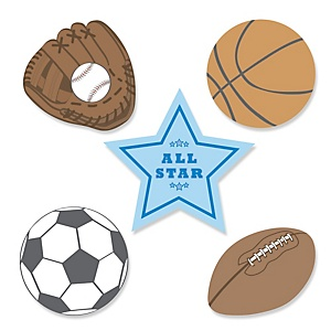 All Star Sports - Shaped Party Paper Cut-Outs - 24 ct
