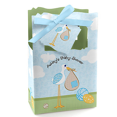 stork baby boy personalized baby shower favor boxes