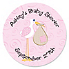 Stork Baby Girl - Personalized Baby Shower Sticker Labels - 24 ct
