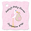 Stork Baby Girl - Personalized Baby Shower Tags - 20 ct