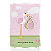 Stork Baby Girl - Personalized Baby Shower Thank You Cards