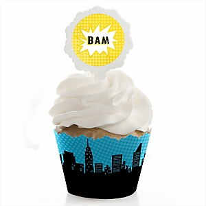 BAM! Superhero - Cupcake Wrapper & Pick Party Kit - Set of 24