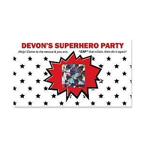 BAM! Superhero - Personalized Party Game Scratch Off Cards - 22 ct