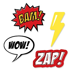 BAM! Superhero - Shaped Party Paper Cut-Outs - 24 ct