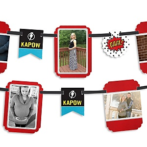 BAM! Superhero - Baby Shower Photo Garland Banners