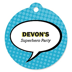 BAM! Superhero - Round Personalized Party Tags - 20 ct