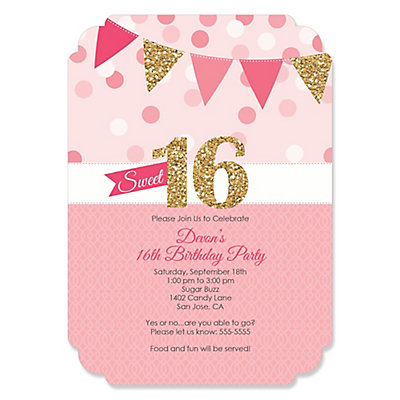 Sweet 16 Personalized Birthday Party Invitations – Sixteen Birthday Invitations
