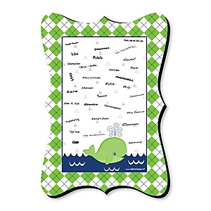 Tale Of A Whale - Personalized Baby Shower Print with Signature Mat