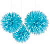 Teal Blue - Birthday Party Tissue Paper Pom Poms - 3 ct