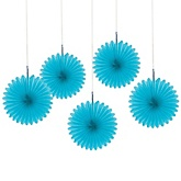 Teal Blue Mini Paper Rosette Fans - Baby Shower Decorations - Set of 5