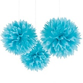 Teal Blue Tissue Paper Pom Poms - Baby Shower Decorations - Set of 3