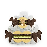 Baby Teddy Bear - 2 Tier Personalized Square Baby Shower Diaper Cake
