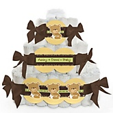 Baby Teddy Bear - 3 Tier Personalized Square Baby Shower Diaper Cake