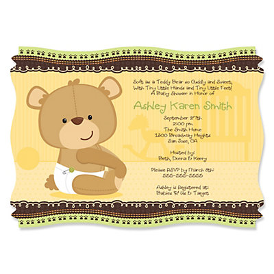 Baby Teddy Bear - Personalized Baby Shower Invitations Baby Shower Party Supplies