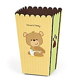 Baby Teddy Bear - Personalized Baby Shower Popcorn Favor Boxes