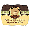 Baby Teddy Bear - Personalized Baby Shower Squiggle Stickers - 16 ct