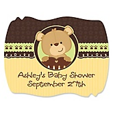 Baby Teddy Bear - Personalized Baby Shower Squiggle Sticker Labels - 16 Count