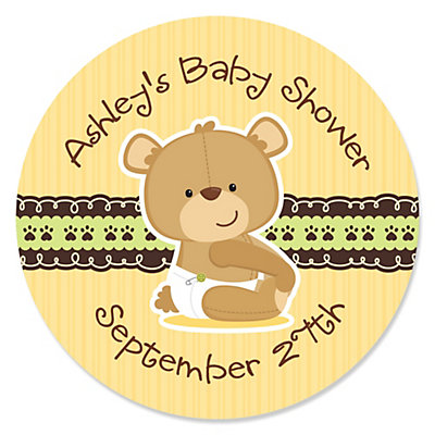 baby teddy bear personalized baby shower sticker labels 24 ct