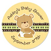 Baby Teddy Bear - Personalized Baby Shower Round Sticker Labels - 24 Count