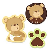 Baby Teddy Bear - Shaped Baby Shower Paper Cut-Outs - 24 ct