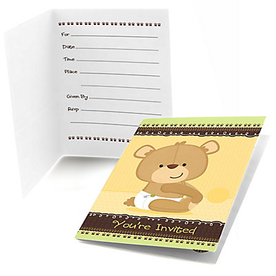 Baby Teddy Bear - Fill in Baby Shower Invitations - 8 ct Baby Shower Party Supplies
