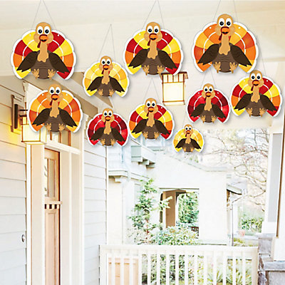 Hanging Thanksgiving Turkey - Outdoor Fall Harvest Hanging Porch & Tree Yard Decorations - 10 Pieces