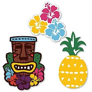 Tiki Luau - Shaped Tropical Hawaiian Summer Party Cut-Outs - 24 ct