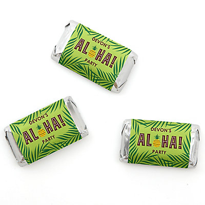 Tiki Luau - Personalized Mini Candy Bar Wrappers Tropical Hawaiian Summer Party Favors - 20 ct