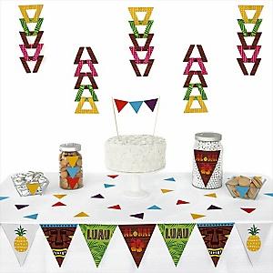 Tiki Luau - 72 Piece Triangle Tropical Hawaiian Summer Party Decoration Kit