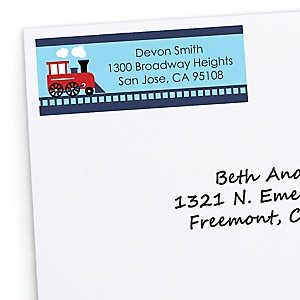 Train - Personalized Baby Shower Return Address Labels - 30 ct