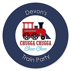 Train - Personalized Baby Shower Sticker Labels - 24 ct