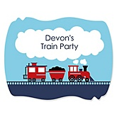 Train - Personalized Baby Shower Squiggle Sticker Labels - 16 Count
