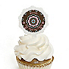Trendy Flower - Personalized Birthday Party Cupcake Pick and Sticker Kit - 12 ct