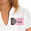 Trendy Flower - Personalized Birthday Party Name Tag Stickers - 8 ct