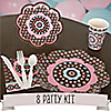Trendy Flower - 8 Person Birthday Party Kit